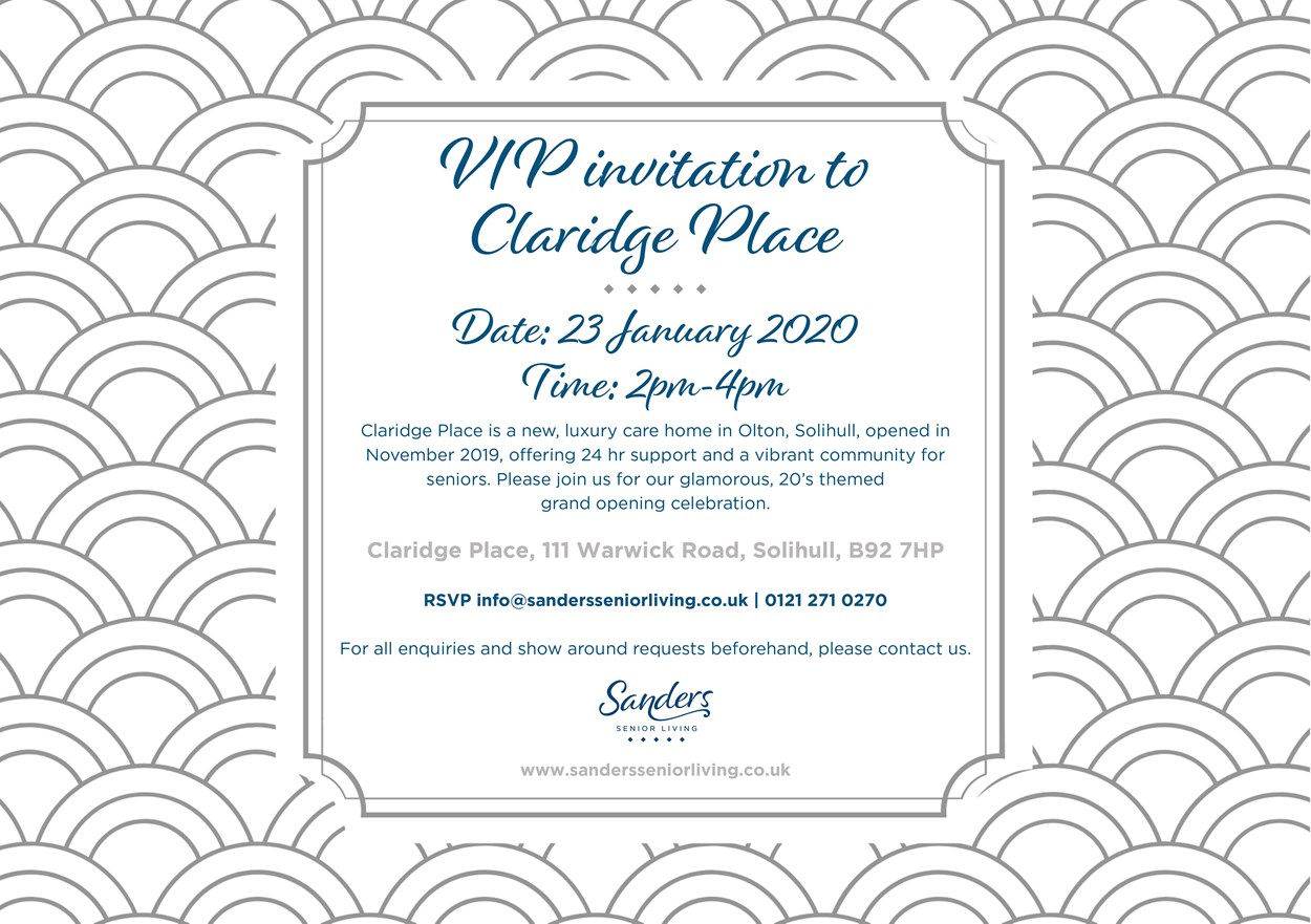 VIP Invitation to Claridge Place - 20s Themed Opening Party