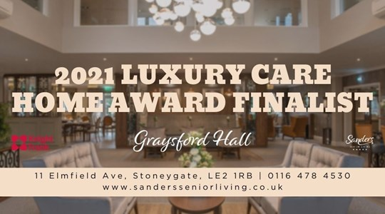 Graysford Hall named 2021 Luxury Care Home of the Year Finalist